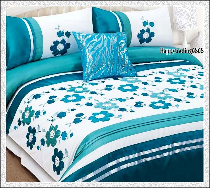 280TC White Turquoise Flora Embroidery Pintuck  3pc KING