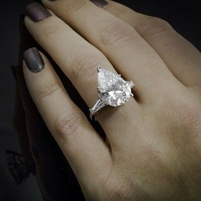 140 Ct Pear Cut Baguette Side Stones Diamond Engagement Ring  GIA CERTIFIED  eBay