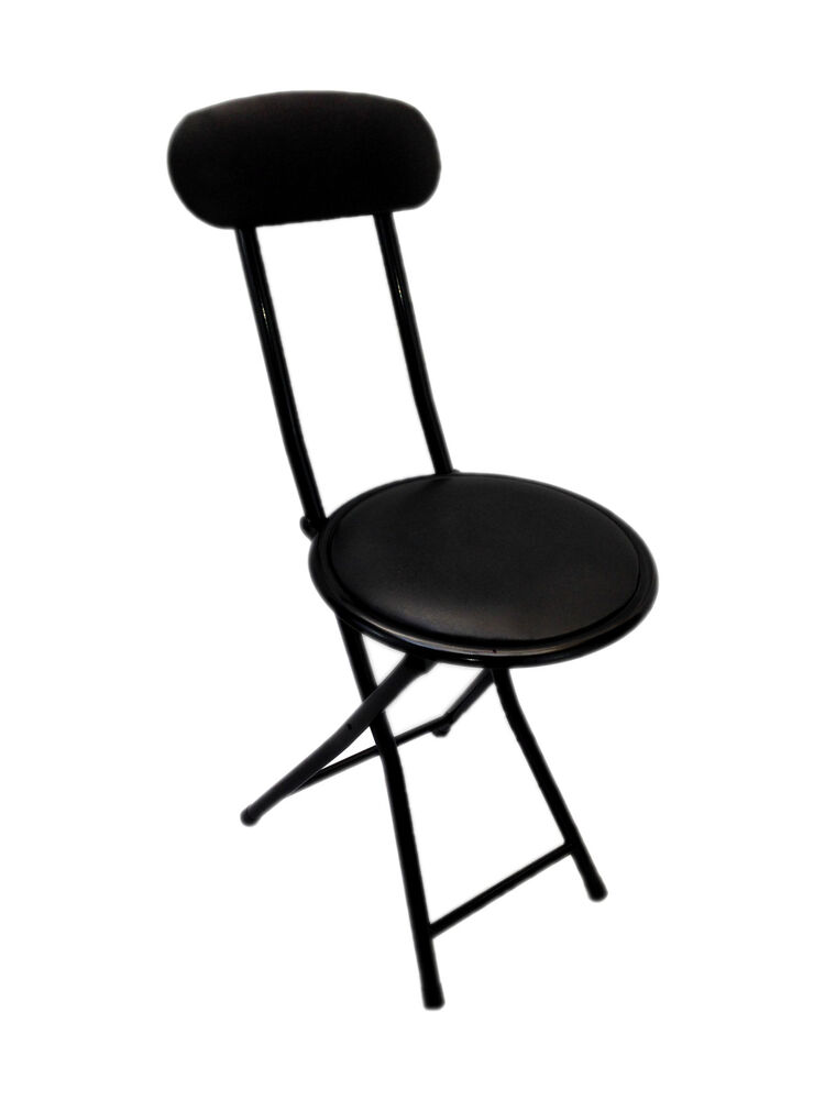 Small Portable Black Folding Chair Padded Easy Stackable