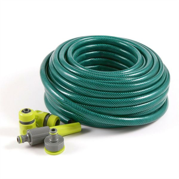 30m Garden Hose Pipe Attachments & Spray Nozzle Fittings Reinforced Hosepipe Set 5060491000373
