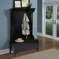 Wood Entryway Mudroom Hall Tree Shoe Storage Bench Hat ...