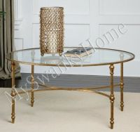 Elegant OVAL IRON Cocktail Coffee Table GOLD Traditional ...