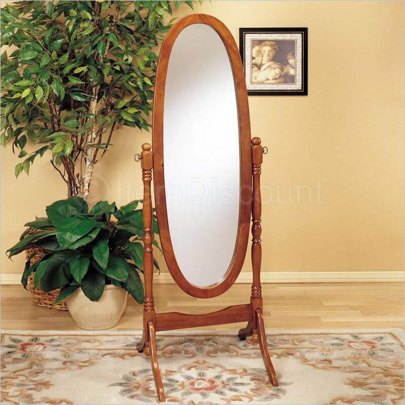 Oak Wood Cheval Oval Standing Floor Mirror Tilting Full Body Length Bathroom  eBay
