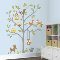GIANT WOODLAND FOX & OWLS WALL DECALS Baby Forest Animals ...