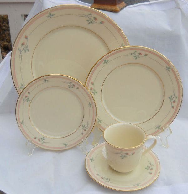 Lenox Rose Manor Dinner Salad Bread Plate Cup Saucer 8