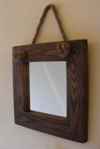 Wall Hanging Small Rope Mirror / Rustic Solid Wood Square ...