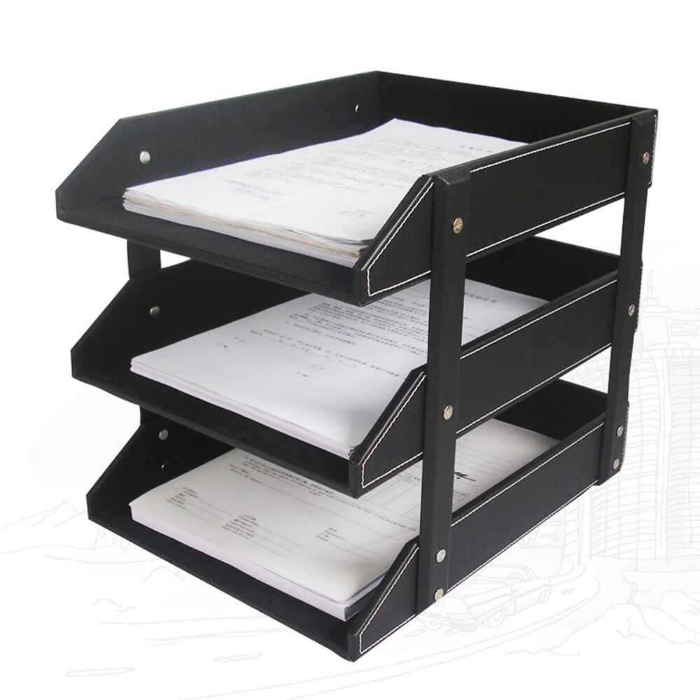 3Tray Leather Office File Document Tray Case Rack Desk