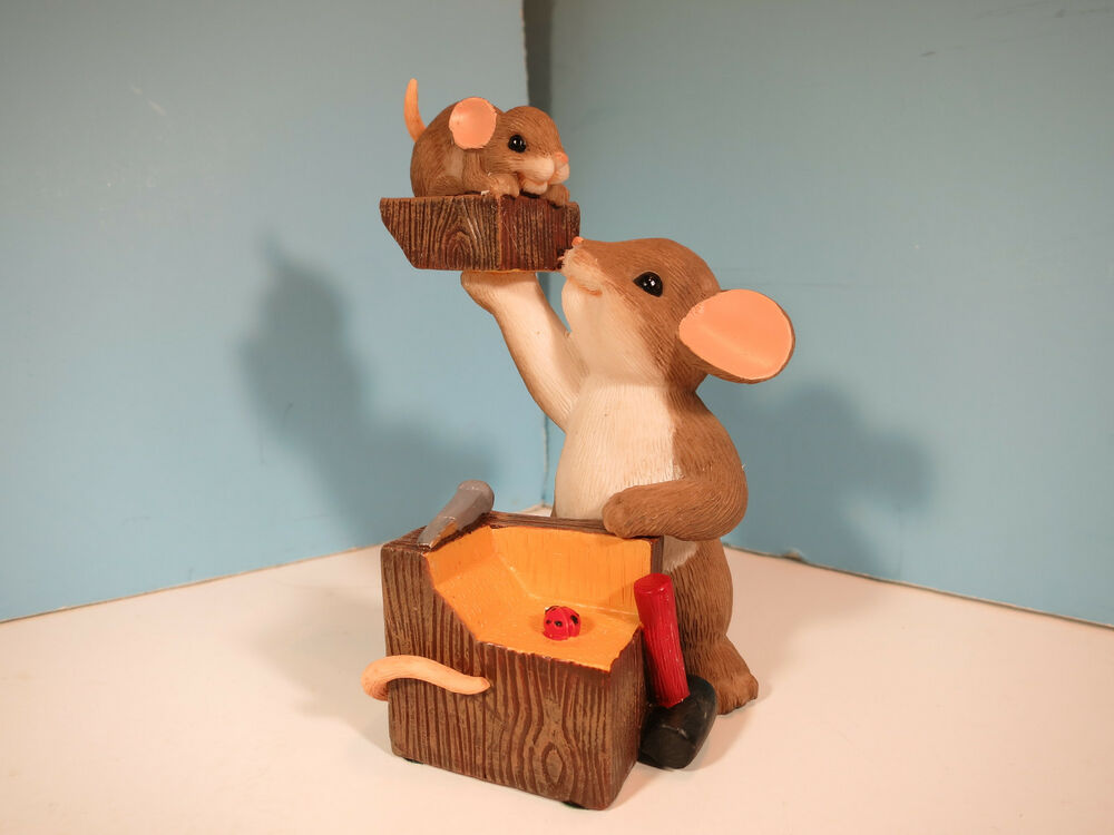 CHARMING TAILS MICE A Real Chip Off The Old Block Mouse Figurine New EBay