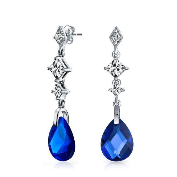 Bling Jewelry Faceted Simulated Sapphire Teardrop Cz 925