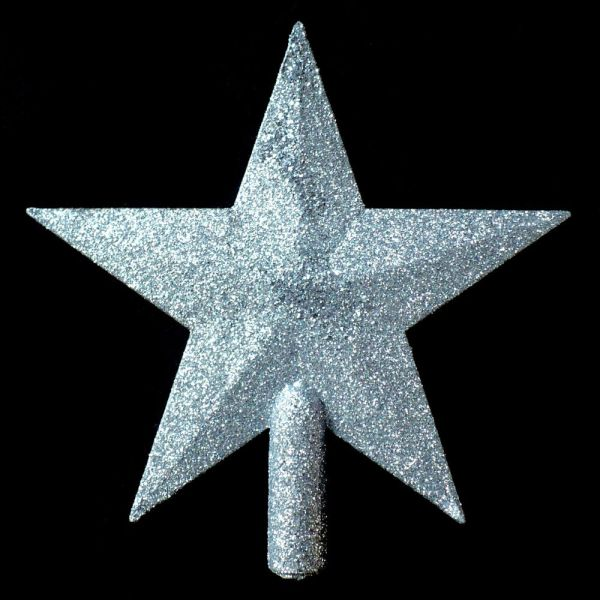 SILVER CHRISTMAS STAR TREE TOPPER PERFECT SIZE FOR