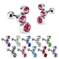 PAIR of Triple Bubble Gem Curved Cartilage Upper Ear Stud ...