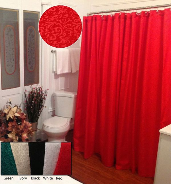 Red Fabric Shower Curtain