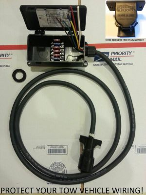 7 Way RV Trailer Molded Plug With 8ft Cord And Sealed Fuse