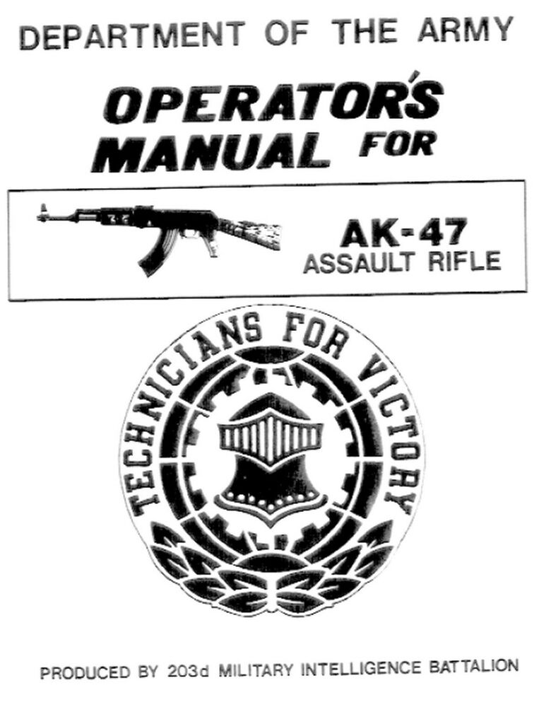 AK-47 7.62X39 Department of the Army Operation Instruction