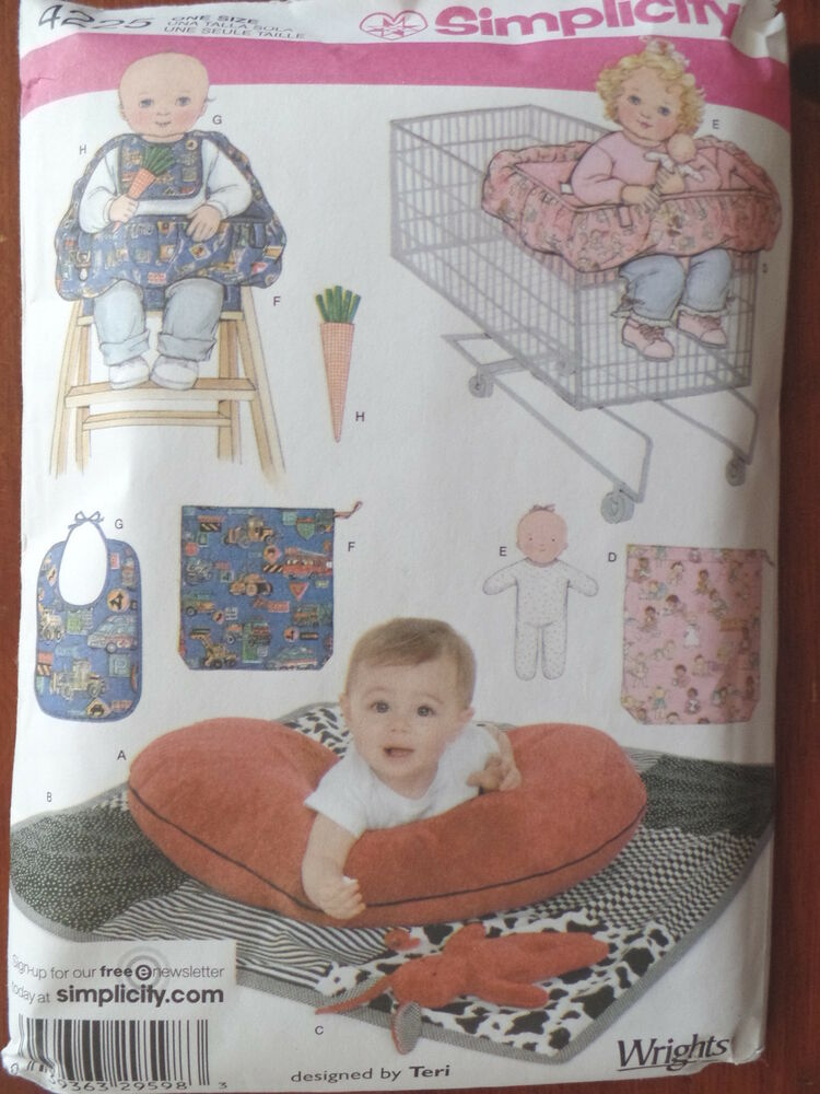 chair pillow for back parson faux leather dining chairs sewing pattern simplicity 4225 baby boppy shopping cart high cover + uncut | ebay