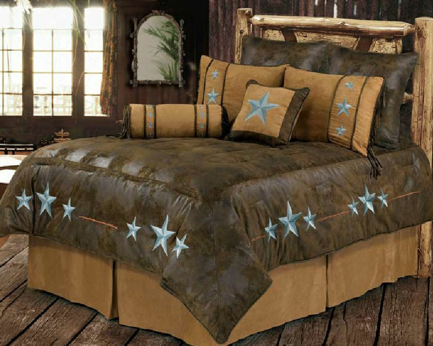 Turquoise Triple Star Western Bedding Comforter Set Ranch