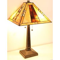 "Tiffany Style Mission Table Lamp Handcrafted 17"" Shade 