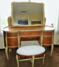 Antique Bedroom Vanity Chair stool Desk Set Satin Wood