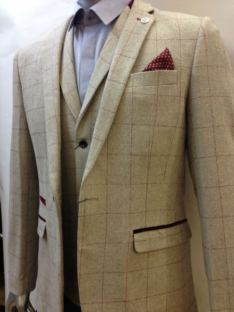 Mens Marc Darcy Designer Cream Vintage Tweed Herringbone