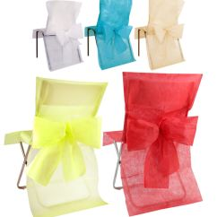 Diy Folding Chair Covers Weddings Target Outdoor Rocking Pack 10 Disposable With Bow Sash Wedding Come Dine, Christmas | Ebay
