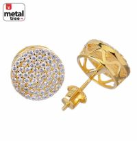 Men's Iced Out Bling Large 12 mm Flat Round Circle Screw ...