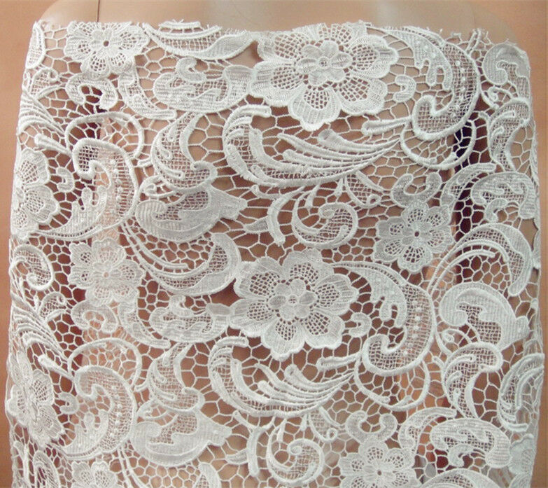 Stunning Ivory Guipure Embroidery Lace Fabric 47 Wide for Bridal Dress 12 Yard  eBay