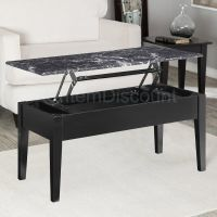 Black Faux Marble Lift Top Coffee Table End Laptop Stand