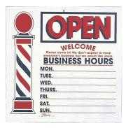 large two sided open close business