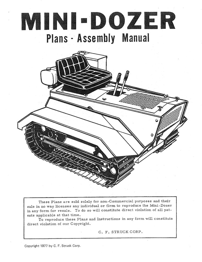STRUCK MINI DOZER SERVICE ASSEMBLY MANUAL MD1200 & MD1600