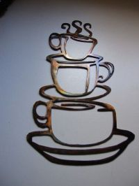 COFFEE CUPS Kitchen Home Decor Metal Wall Art Hanging | eBay
