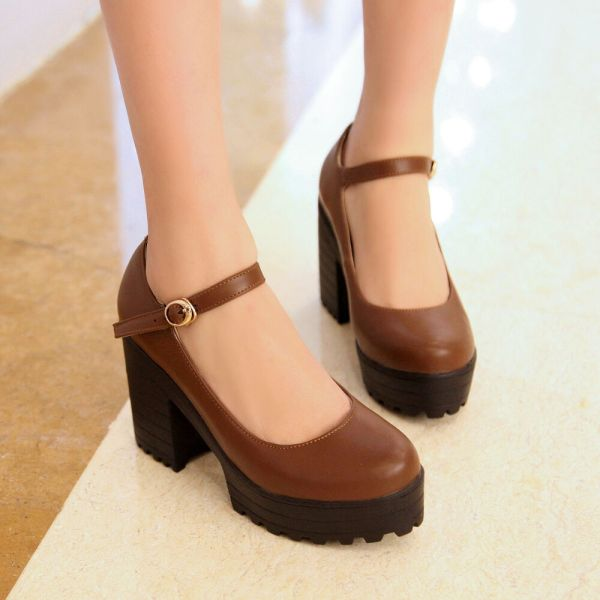 Hot Womens Chunky Heel Mary Jane Buckle Strap Platform