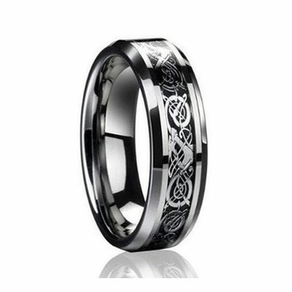 6mm Mens Or Ladies Tungsten Carbide Celtic Knot Dragon