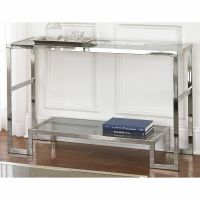Cordele Chrome and Glass Sofa Table Furniture Storage