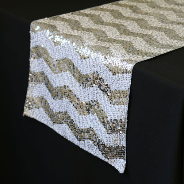 14 X 108 Chevron Sequin Table Runners White And Silver