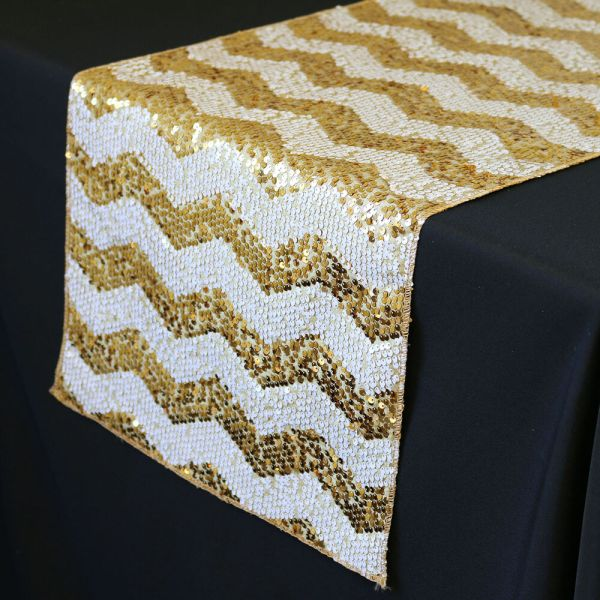 Ycc Linen - 14 X 108 Chevron Sequin Table Runner