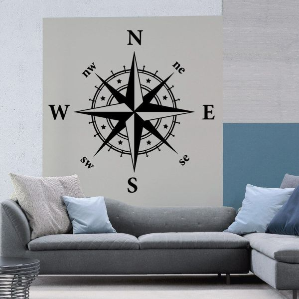 Compass Removable Wall Decal Wind Rose Kids Room Art Home