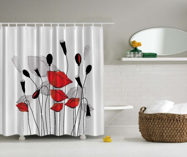 Red Black and Grey Shower Curtains