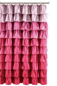 Ruffle Fabric Shower Curtain Color multi-color Pink ...