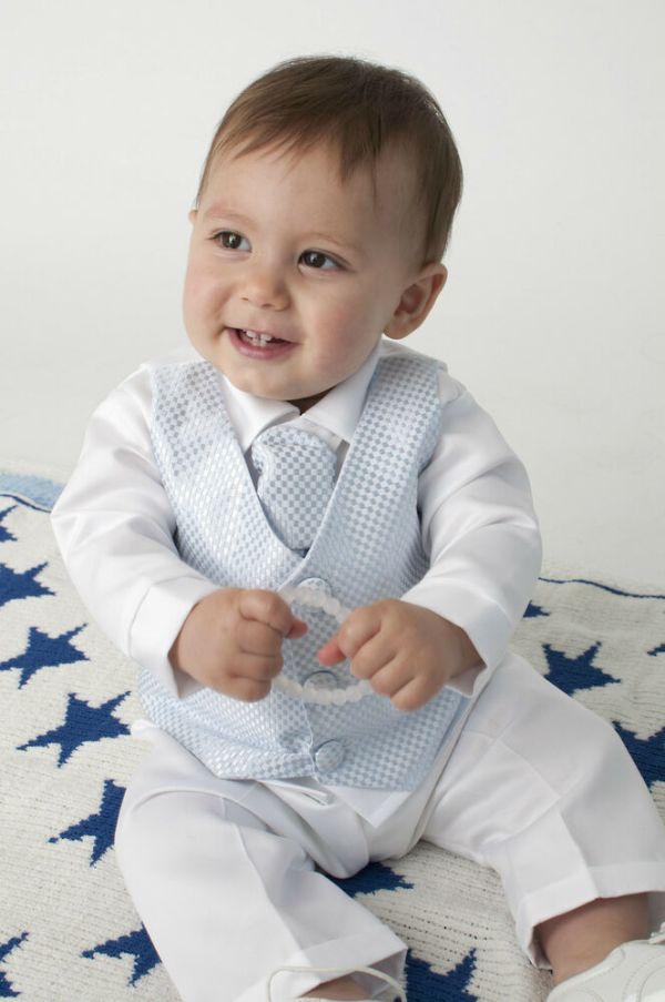 Baby Boys 4 Piece Christening Outfit Suit Blue White Check
