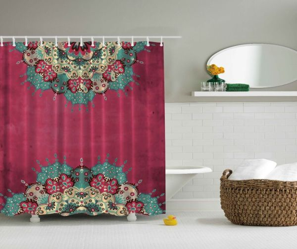 Pink and Teal Shower Curtain