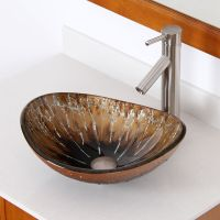 Bathroom Unique Oval Artistic Glass Vessel Sink & Brushed
