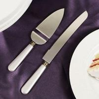White Mother Of Pearl like Handle Wedding Cake Knife ...