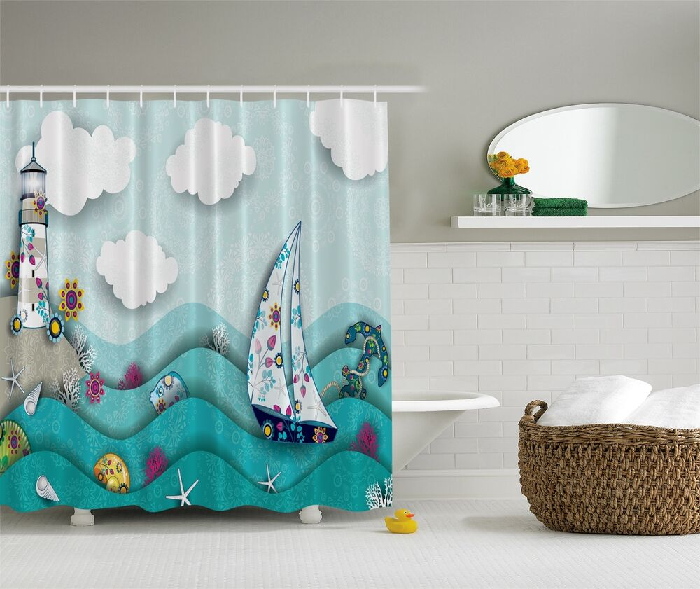 Blue Green Ocean Lighthouse Beach Fabric Shower Curtain Digital Art Bathroom 784411236578 EBay