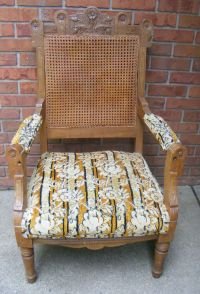 Antique Victorian Eastlake Chair Cane Upholstered | eBay