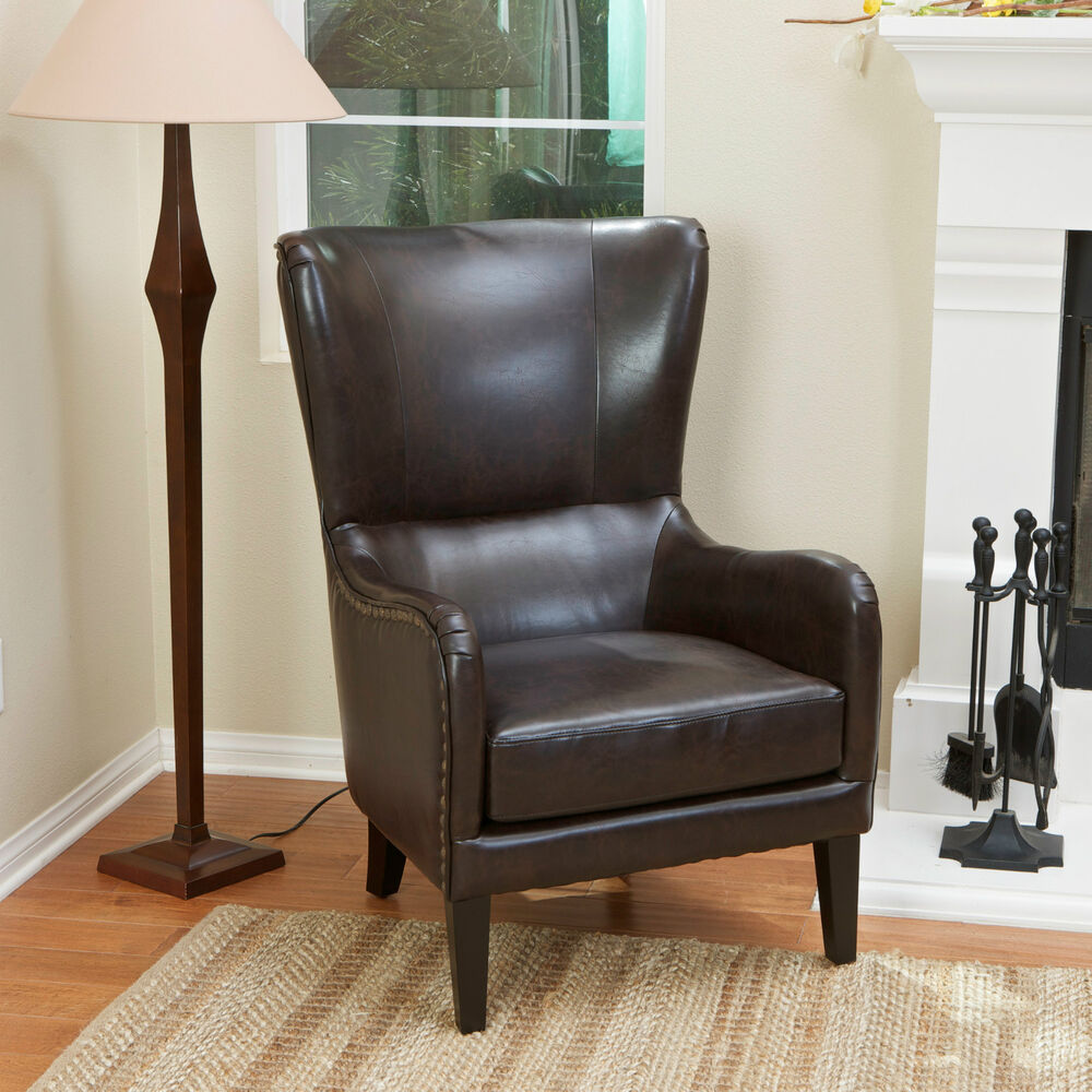 Brown Leather Wingback Chair Salerno Brown Leather High Back Wing Chair Lounge Wingback Armchair Ebay