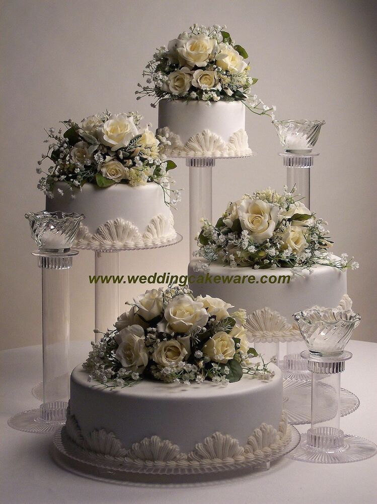 4 TIER CASCADING WEDDING CAKE STAND STANDS  3 TIER CANDLE
