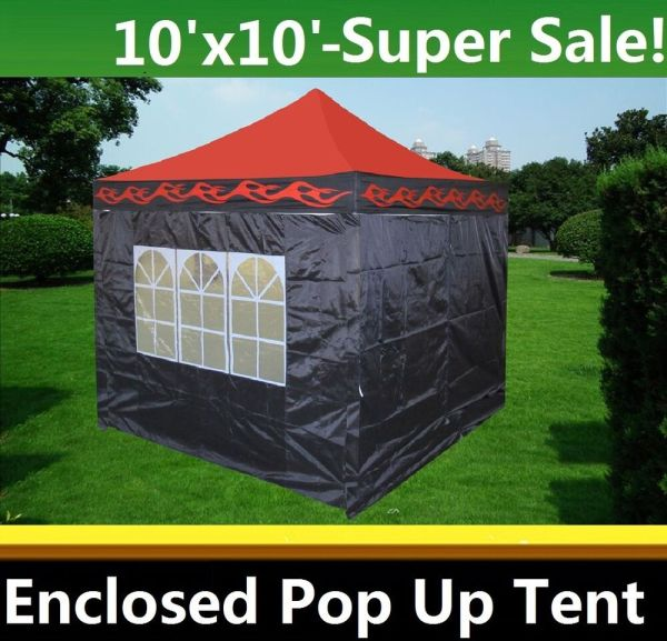 10'x10' Enclosed Pop Canopy Party Folding Tent Gazebo - Red Flame Model