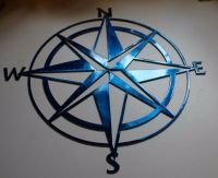 "Nautical COMPASS ROSE 36"" WALL ART DECOR Metallic Blue"