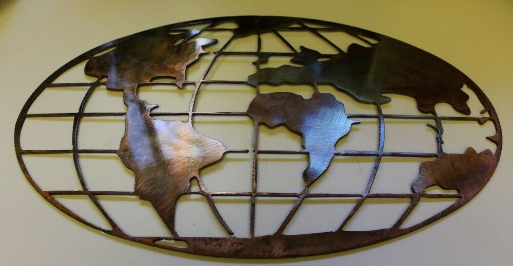 "Metal Art World Map 32"" Wide Copper And Bronze Plated"