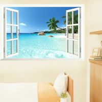 Beach 3D Window View Removable Wall Art Sticker Vinyl